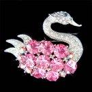 Swarovski Crystal Elegant Pink Swan Big Stone Pin Brooch
