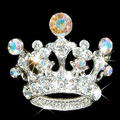 Clear Crown Swarovski Crystal Brooch