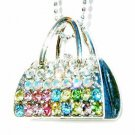 Rainbow Swarovski Crystal Handbag Purse Night Out Necklace