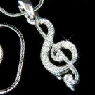 Treble G Clef Musical Note Swarovski Crystal Pendant Necklace