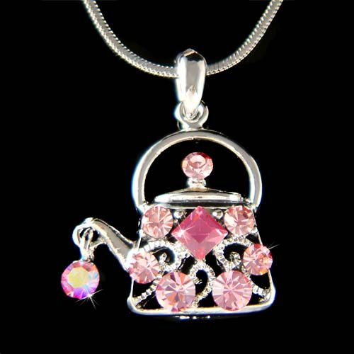 Swarovski Crystal Pink Teapot Tea Party Pendant Necklace