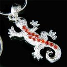 Swarovski Crystal Red Lizard Gecko Reptile Salamander Necklace