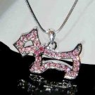 Swarovski Crystal Cute Pink Scottish Westie Dog Jewelry Necklace