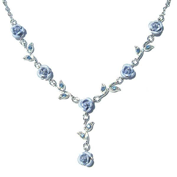 Swarovski Crystal Light Blue Rose Flower Floral Bridal Necklace