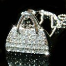 Clear Night Out Handbag Purse Swarovski Crystal Pendant Necklace
