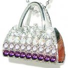 Purple Night Out Handbag Purse Swarovski Crystal Chain Necklace