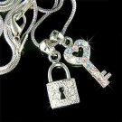 Key to My Heart Swarovski Crystal Love Lock Pendant Necklace