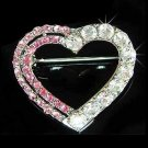 Swarovski Crystal Pink Cut Out Heart Love Valentine Pin Brooch