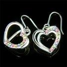 Swarovski Crystal 3D Rainbow Valentine Love Heart Party Earrings