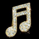 Gold Sixteenth Music Note Swarovski Crystal Semiquaver Brooch