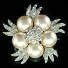 Swarovski Crystal Pearl Flower Floral Brooch for Wedding Dress