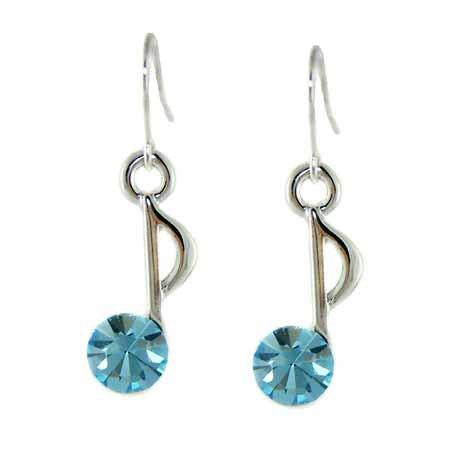 Aqua Swarovski Crystal Quaver 8th Eighth Music Note Earrings