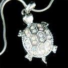 Swarovski Crystal Sea Turtle Tortoise Wildlife Pendant Necklace