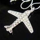 Swarovski Crystals Airplane Necklace for Airline Pilot Aviators