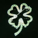Swarovski Crystal Green Good Luck 4 Leaf Clover Shamrock Brooch