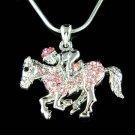 Pink Swarovski Crystal Equestrian Horse Rider Pendant Necklace