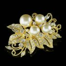 Swarovski Crystal Gold Plated Bridal Flower Pearl Bouquet Brooch