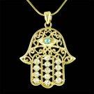 Gold Swarovski Crystal Jewish Hamsa Hand Evil Eye Charm Necklace