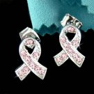 Swarovski Crystal Breast Cancer Awareness Pink Ribbon Earrings