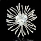 Valentine Swarovski Heart Crystal Starburst Brooch for Wedding