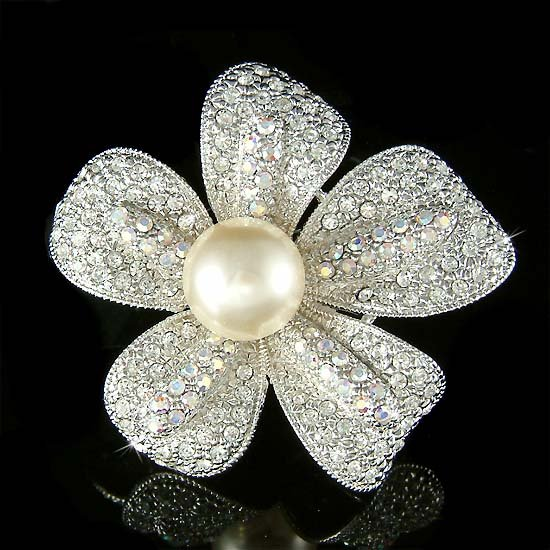 Swarovski Crystal 5 Petals Pearl Flower Floral Pin Brooch Jewelry