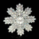 Christmas Snowflake Swarovski Crystal Holiday Flower Pin Brooch