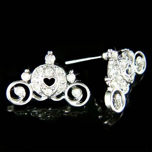 Swarovski Crystal Cinderella Pumpkin Carriage Coach Earrings