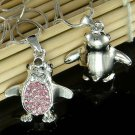 Pink Swarovski Crystal Antarctica Bird Penguin Pendant Necklace