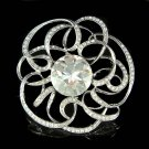 "3"" Huge Bridal Swarovski Crystal Round Cutout Flower Pin Brooch"