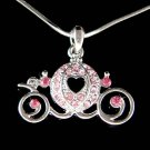 Cute Pink Swarovski Crystal Pumpkin Cinderella Carriage Necklace