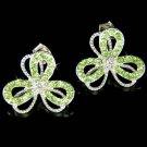 Swarovski Crystal Irish Lucky Shamrock 3 Leaf Clover Earrings Jewelry