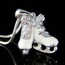 Swarovski Crystal 3D White Ice Skating Shoes Hockey Necklace New