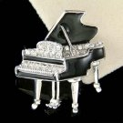 Swarovski Crystal Classy Black Enamel Paint Grand Piano Brooch