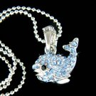Swarovski Crystal Cute Blue Whale Dolphin Charm Pendant Necklace