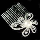 Swarovski Crystal Cut Out Flower Floral Pearl Hair Comb Jewelry