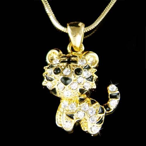 Swarovski Crystal Leopard Tiger Jaguar Cheetah Pendant Necklace