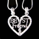 Swarovski Crystal Best Friend Heart 2 Chains 2 Pendant Necklace
