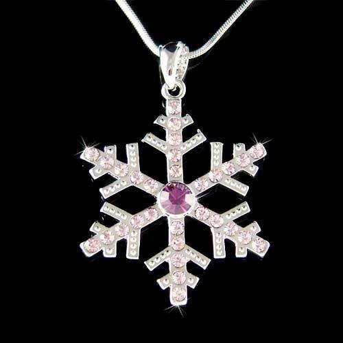 Swarovski Crystal Purple Snowflake Christmas Pendant Necklace