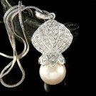 Swarovski Crystal Beach Wedding Seashell Pearl Pendant Necklace