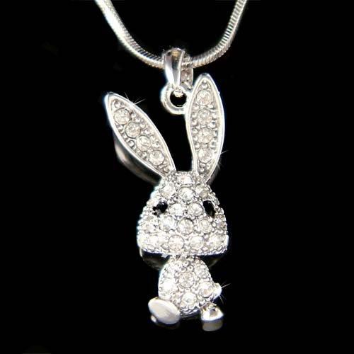 Swarovski Crystal Easter Bunny Rabbit Girls Pendant Necklace New