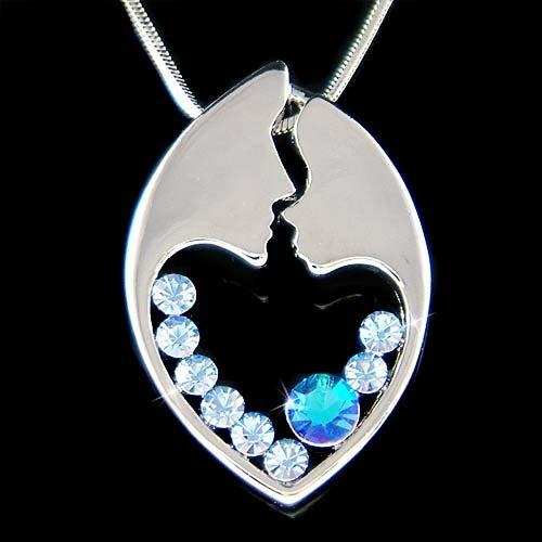 Swarovski Crystal Blue Mother Love Baby Child Heart Necklace
