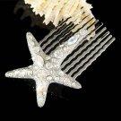 Swarovski Crystal Modern Bridal Beach Wedding Starfish Hair Comb