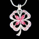 Swarovski Crystal Pink 4 Leaf Clover Lucky Shamrock Necklace New