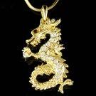 Swarovski Crystal Gold Dragon Fairy Myth Chinese Charm Necklace