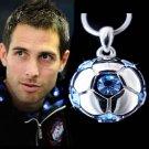 Swarovski Crystal Blue 3D Football Soccer Ball Pendant Necklace