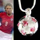 Swarovski Crystal Pink 3D Football Soccer Ball Pendant Necklace