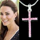 Swarovski Crystal Pink Cross Necklace Religious Girls Jewelry