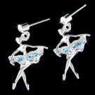 Swarovski Crystal Blue The Nutcracker Ballet Ballerina Girls Earrings