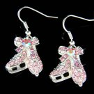Swarovski Crystal Pink Ice Skating Skate Figure Hockey Mom Earrings
