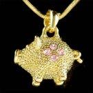 Swarovski Crystal 3D Gold Pink Little Pig Piggy Piglet Charm Necklace